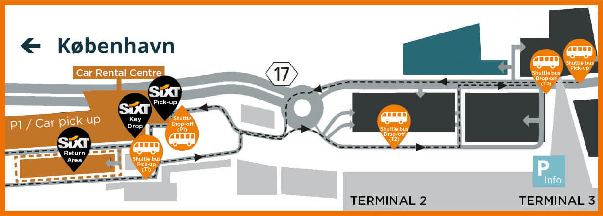 Directions to CPH car rental centre